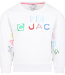 little marc jacobs white sweatshirt for girl with logo