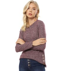 sweater tentation liso con botones morado - calce regular