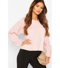 big sleeve cotton mix and jersey contrast blouse, nude