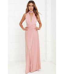 long blush bridesmaid infinity dress convertible multiway cocktail party maxi