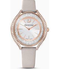 orologio crystalline aura, cinturino in pelle, grigio, pvd oro rosa
