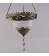 suporte de vela pendente- pashmina- vid/met- transparente