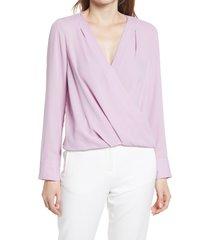 women's halogen cross front blouse, size small - purple