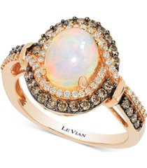 le vian chocolatier opal (1-1/5 ct. t.w.) and diamond (1/2 ct. t.w.) ring in 14k rose gold, created for macy's