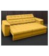sofá apollo 2,30m retrátil e reclinável velosuede canário - netsofas