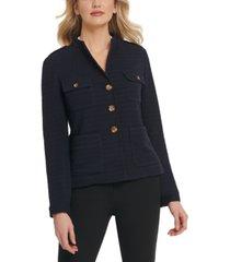 dkny petite button-detail knit blazer