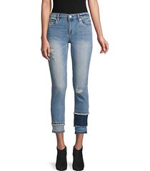 distressed colorblock skinny jeans