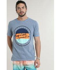 """camiseta masculina """"tropical paradise"""" manga curta gola careca azul"""
