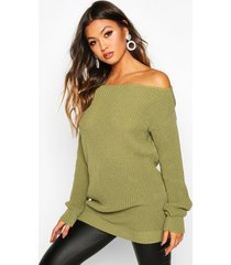 slash neck fisherman sweater, olive
