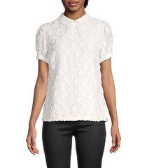 karl lagerfeld paris women's neck-tie keyhole back blouse - soft white - size 4