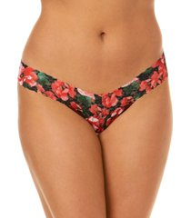 hanky panky women's low rise pretty poppies one size thong 6b1586