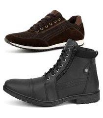 kit de bota coturno casual com sapatênis jogging sapatofran em couro preto