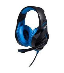 fone de ouvido warrior ph244 headset usb 2.0 preto e azul com led