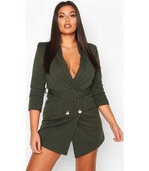 plus double breasted gold button blazer dress, khaki