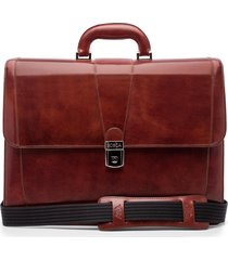 men's bosca leather double gusset briefcase - brown
