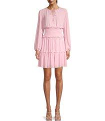 bcbgmaxazria women's smocked-waist tiered dress - pink - size s