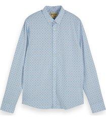 scotch & soda shirt with mini all-ov combo a blauw