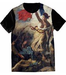 camiseta elephunk estampada liberté, egalité, fraternité preta - kanui