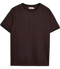 men's topman men's herringbone ringer t-shirt, size small - burgundy