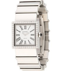 chanel pre-owned mademoiselle wrist watch - silver