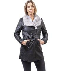 abrigo ecocuero gris alexandra cid