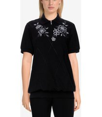 alfred dunner women's missy easy living casual floral embroidered pullover top