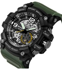 reloj deportivo militar hombres led digital sanda 038 verde militar