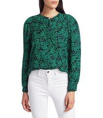 joie women's kayvan leaf print blouse - caviar - size xs