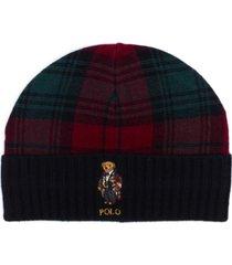 polo ralph lauren men's toggle bear plaid hat