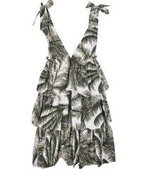 parosh white palm-print tiered dress