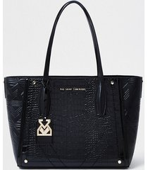 river island womens rsd black croc and embossed shopper bag