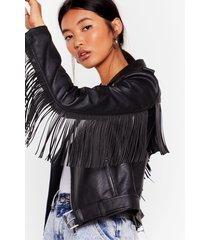 womens crazy little fringe faux leather jacket - black
