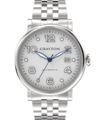 grayton men's classic collection silver tone stainless steel case bracelet 44mm