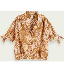 scotch & soda boxy-fit printed cotton-blend top