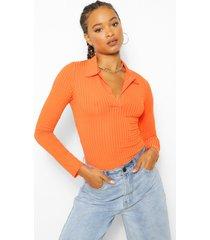 geribbelde trui met polo kraag, orange