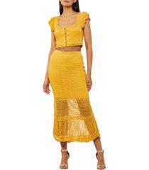 bcbgmaxazria cotton crochet maxi skirt