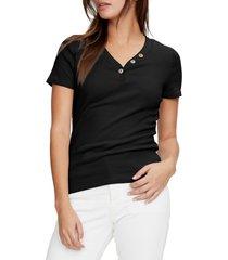 women's michael stars kiana short sleeve henley t-shirt, size one size - black