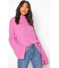 tall fluffy high neck sweater, lilac