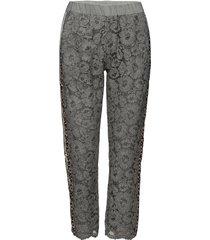 pants w. lace and leopard stribe byxa med raka ben grå coster copenhagen