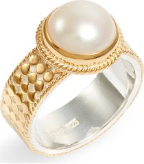 women's anna beck genuine pearl band ring