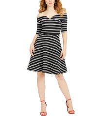 guess epona striped off-the-shoulder dress