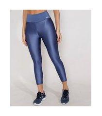calça corsário feminina esportiva ace texturizada azul