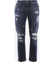 dolce & gabbana blue washed stretch denim jeans with tear detail