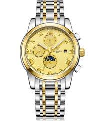 reloj, relojes de acero luminoso mecánico-dorado