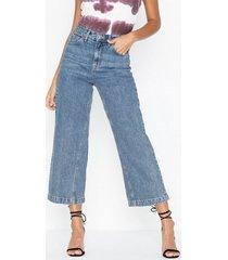 topshop dirty crop wide leg jeans loose fit