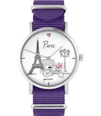 zegarek - paryż - fiolet, nylonowy