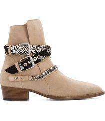 amiri bandana buckle ankle boots - neutrals