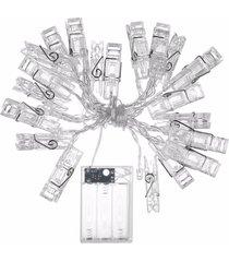 cordão de luz -l3 store  varal de fotos com prendedores led - transparente