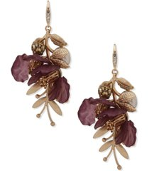 lonna & lillly gold-tone crystal & imitation pearl flower statement earrings