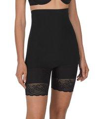 natori plush high waist thigh shaper bodysuit, women's, black, 100% cotton, size xl natori